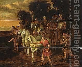 The meeting of Jacob and Joseph by (after) Jacob Willemsz De The Elder Wet - Reproduction Oil Painting