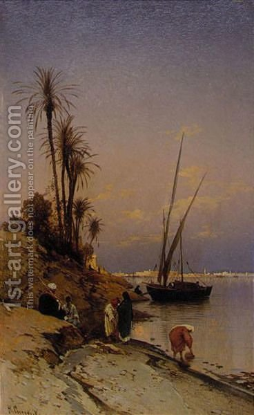On The Banks Of The Nile by Hermann David Solomon Corrodi - Reproduction Oil Painting