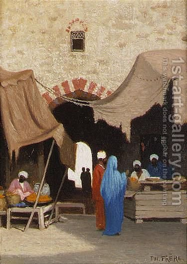 Entree De Bazaar A Alexandria, Egypt and Le Casbah Au Caire A Pair by Charles Théodore Frère - Reproduction Oil Painting