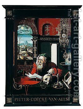 St. Jerome In His Study, A Landscape Seen Through The Window by (after) Pieter Coecke Van Aelst - Reproduction Oil Painting