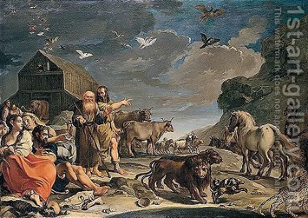 Noah And The Animals Leaving The Ark After The Deluge by Aureliano Milani - Reproduction Oil Painting
