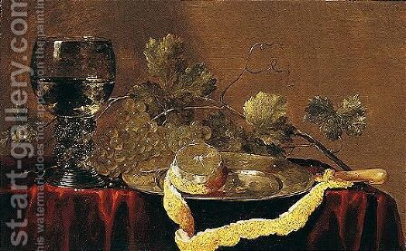 A Still Life Of A Peeled Lemon On A Pewter Dish, Grapes, And A Roemer, All On A Table Draped With A Red Cloth by Abraham Susenier - Reproduction Oil Painting