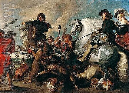 The wolf and fox hunt by (after) Sir Peter Paul Rubens - Reproduction Oil Painting
