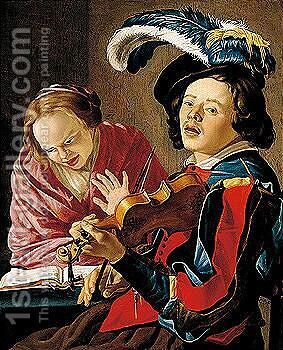 An Allegory Of The Sense Of Hearing An Interior With A Boy Playing The Violin And A Lady Singing by Christiaen van Couwenbergh - Reproduction Oil Painting