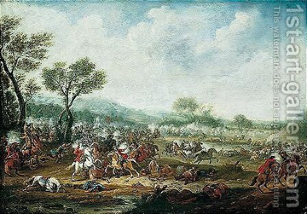 A cavalry battle by (after) Karel Breydel - Reproduction Oil Painting