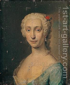 Portrait of a lady, head and shoulders, wearing a blue lace-trimmed dress and a red flower in her hair by (after)  Jacopo (Giacomo) Amigoni - Reproduction Oil Painting