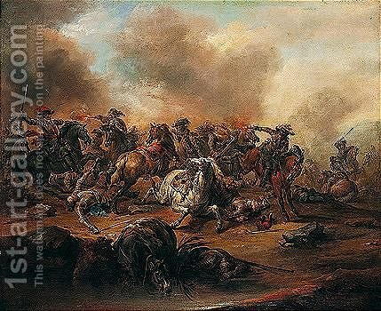 A Cavalry Skirmish by Charles Parrocel - Reproduction Oil Painting