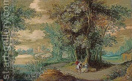 Landscape with meleager and atalanta by (after) Jasper Van Der Laanen - Reproduction Oil Painting