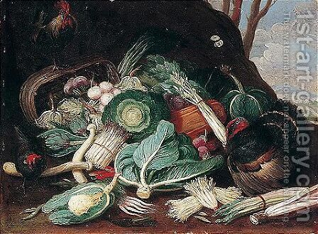 Still life of vegetables, together with a turkey, a cockerel and a hen 2 by (after) Jan Van Kessel I - Reproduction Oil Painting