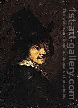 Portrait of a man, wearing a black hat and coat by Dutch School - Reproduction Oil Painting