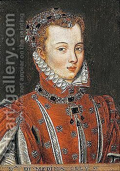 Portrait of the Duchess of Medina by (after) Anthonis Mor Van Dashorst - Reproduction Oil Painting