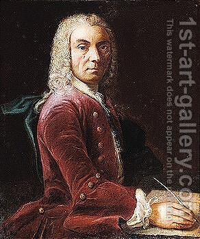 Portrait of a man, three-quarter length, writing a letter at a table by (after) Joaquin Inza - Reproduction Oil Painting