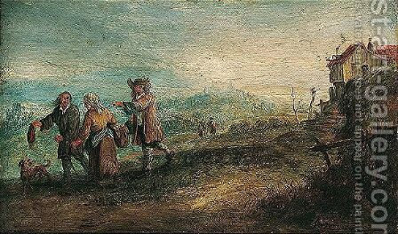 Landscape with travellers near a dwelling by Andreas Martin - Reproduction Oil Painting