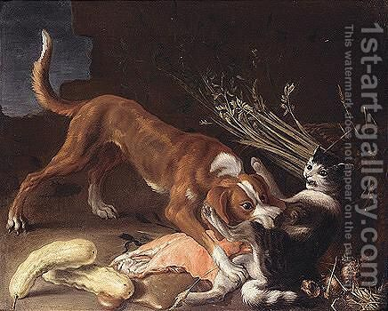 A dog attacking a cat stealing meat from a wicker basket by (after) Pierre Van BOUCLE (BOECKEL) - Reproduction Oil Painting