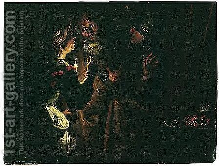 Derived Ultimately From Seghers' Many Versions Of The Denial Of Saint Peter by (after) Gerard Seghers - Reproduction Oil Painting