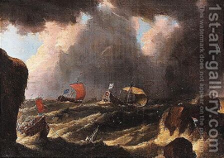 Shipping in stormy seas by (after) Adriaen Van Diest - Reproduction Oil Painting