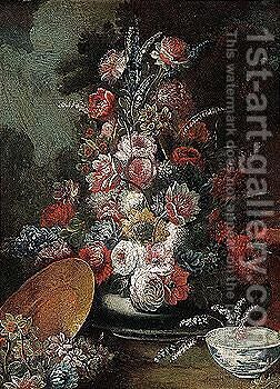 Still life of flowers in a vase with a porcelain bowl, in a garden setting by (after) Gasparo Lopez - Reproduction Oil Painting