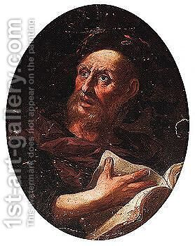 Portrait of a poet, head and shoulders by (after) Giovanni Battista Langetti - Reproduction Oil Painting