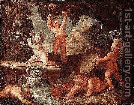 Putti playing near a stream issuing from a gargoyle by (after) Giulio Carpioni - Reproduction Oil Painting