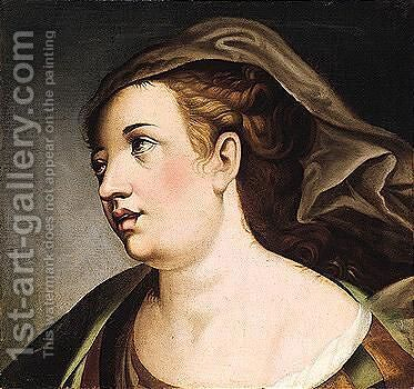 Head of a woman by (after) Bartolomeo Passerotti - Reproduction Oil Painting
