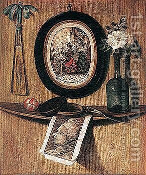 A rose in a wine bottle, a knife, a pot and a ball on a ledge on a wooden wall by (after) Andrea Remps - Reproduction Oil Painting