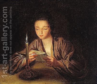 A woman reading a letter by candlelight by (after) Jean-Baptiste Santerre - Reproduction Oil Painting