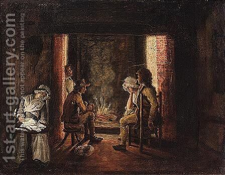 Tavern scene with rustics by a fire by (after) John Cranch Of Bath - Reproduction Oil Painting