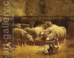 Sheep In A Barn by Charles Émile Jacque - Reproduction Oil Painting