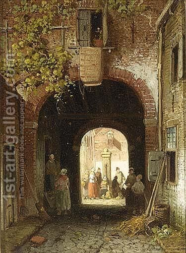 Villagers By A Towngate by Charles Henri Leickert - Reproduction Oil Painting
