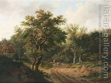 Travellers On A Path In A Wooded Landscape by Alfred Eduard Agenor De Bylandt - Reproduction Oil Painting