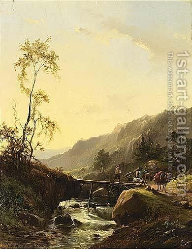 A Mountainous Landscape With A Traveller On A Bridge by Jacobus Pelgrom - Reproduction Oil Painting