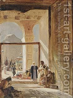 The Forecourt Of The Great Mosque, Damascus by Gustave Bauernfeind - Reproduction Oil Painting