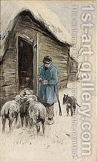 By The Sheep-fold by Anton Mauve - Reproduction Oil Painting