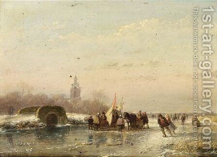 A Frozen Waterway With Skaters And A 'Koek En Zopie' by Andreas Schelfhout - Reproduction Oil Painting