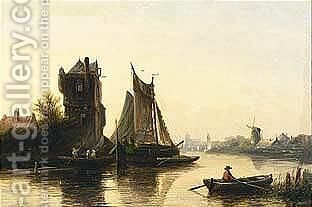 A River Landscape In Summer 2 by Jan Jacob Coenraad Spohler - Reproduction Oil Painting