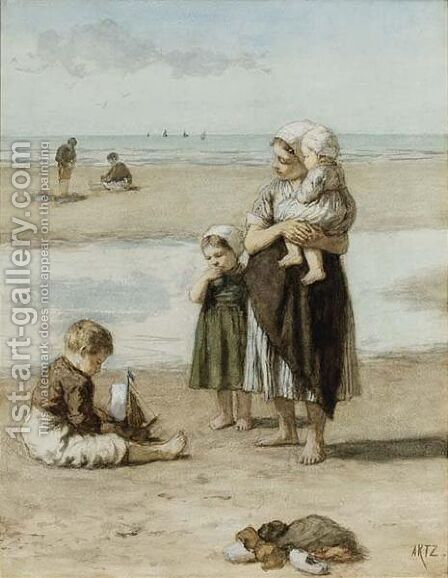 On The Beach, Scheveningen by David Adolf Constant Artz - Reproduction Oil Painting
