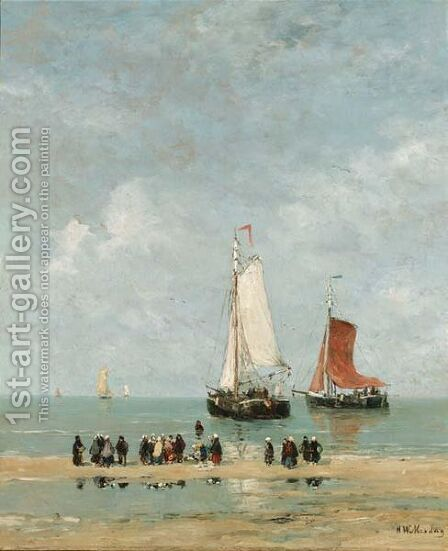 Fisherwomen Watching The Departure Of The Fleet by Hendrik Willem Mesdag - Reproduction Oil Painting