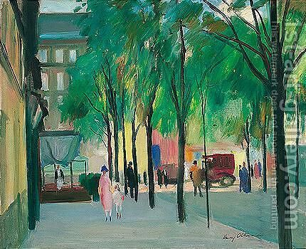 Street scene by Henri Ottmann - Reproduction Oil Painting