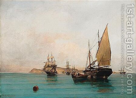 On Calm Waters by Constantinos Volanakis - Reproduction Oil Painting