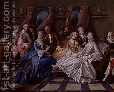 Interior scene with elegant figures by (after) Pierre Villebois - Reproduction Oil Painting