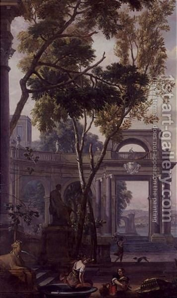 Figures in a landscape with classical architecture by Isaac de Moucheron - Reproduction Oil Painting