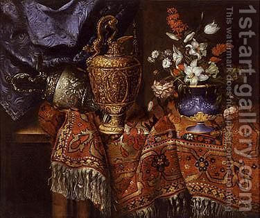 Still life of a vase of flowers and ornate urns all resting on a table by Jacques Hupin - Reproduction Oil Painting