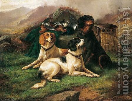 Dogs by J.W. Morris - Reproduction Oil Painting