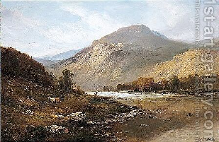 Midday - The Tay, Near Dunkeld, N.B. by Alfred de Breanski - Reproduction Oil Painting