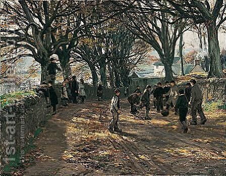 A Game Of Football by David Farquharson - Reproduction Oil Painting