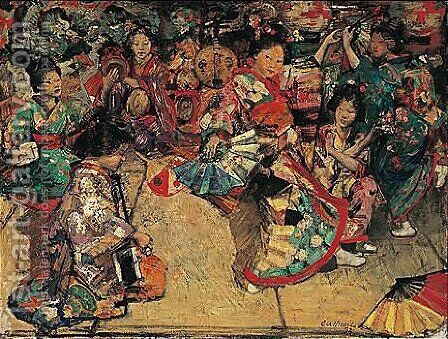 Japanese Dancing Girls by Edward Atkinson Hornel - Reproduction Oil Painting