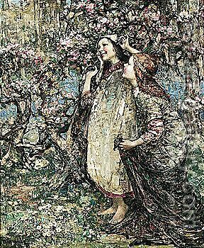 Cherry Blossom by Edward Atkinson Hornel - Reproduction Oil Painting