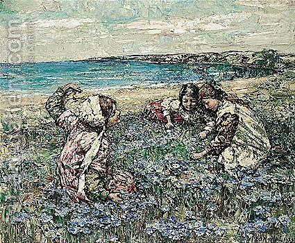 Midst The Fairy Flax by Edward Atkinson Hornel - Reproduction Oil Painting