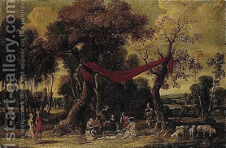 Elegant Figures Feasting In A Wooded Landscape by (after) Jan Wildens - Reproduction Oil Painting