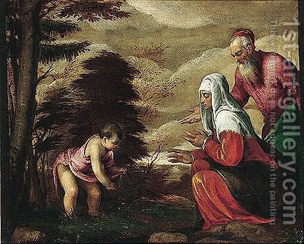The Infant Saint John The Baptist Taking Leave Of His Parents by Jacopo Bassano (Jacopo da Ponte) - Reproduction Oil Painting